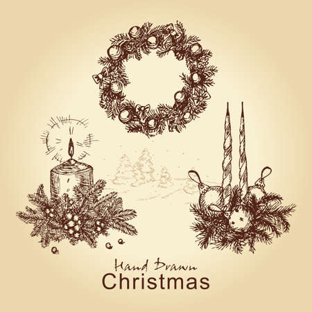 hand drawn vintage collection with christmas wreath, balls, tree and candles, for xmas design Vector