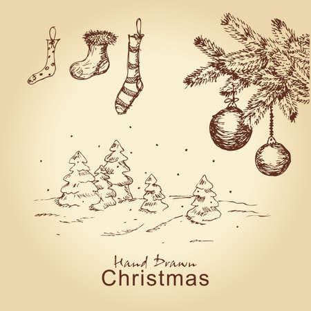 hand drawn vintage christmas set with fir branches, tree, balls and socks, for xmas design Vector