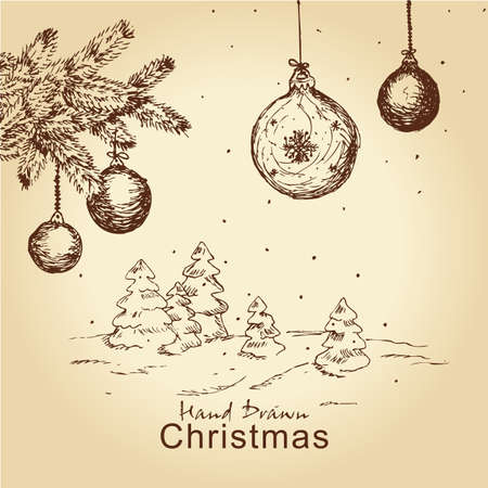 hand drawn vintage christmas set with fir branches, trees and balls, for xmas design Vector
