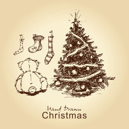 hand drawn vintage christmas card with teddy and christmas tree, for xmas design Vector