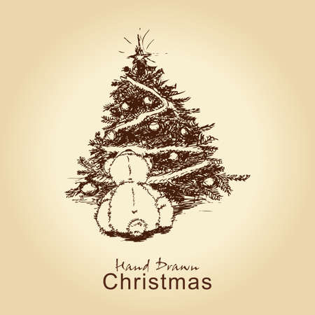 hand drawn vintage christmas card with teddy bear and christmas tree, for xmas design Stock Vector - 11815301