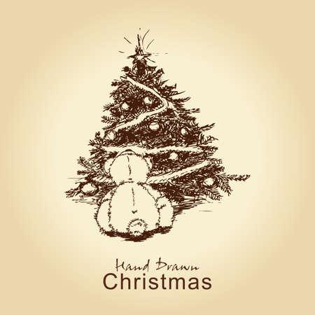 hand drawn vintage christmas card with teddy bear and christmas tree, for xmas design Stock Vector - 11815301