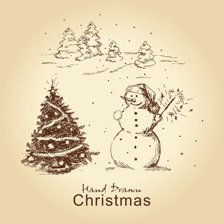 christmas hand drawn card with snowman and christmas tree, for xmas design Vector