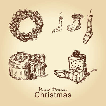 hand drawn christmas vintage collection with christmas wreath, socks and gifts, for xmas design Vector