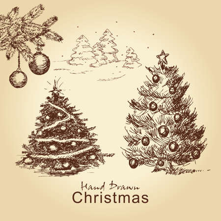hand drawn christmas vintage set with christmas trees decorated with balls, for xmas design Vector