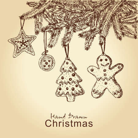 hand drawn gingerbread cookies on christmas tree, for xmas design Vector