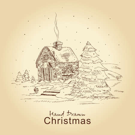 hand drawn christmas vintage card with winter landscape, for xmas design Vector
