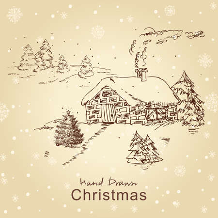 Christmas hand drawn christmas card with landscape, for xmas design. All elements are in separate layers and grouped, easy to edit. Vector