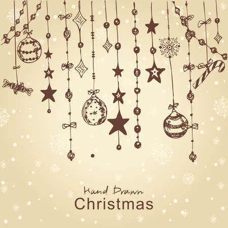 Christmas hand drawn decorations for xmas design with toys, balls and fir-cone. All elements are in separate layers and grouped, easy to edit. Stock Vector - 11815304