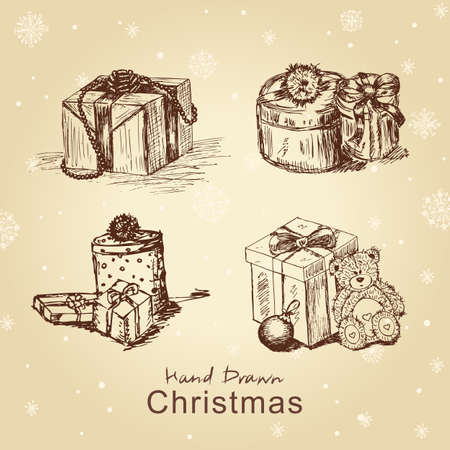 Hand drawn new Christmas gifts set, for xmas design. All elements are in separate layers and grouped, easy to edit. Stock Vector - 11815306