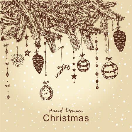 fur tree: Disegnata a mano albero di Natale con palline di pelliccia, giocattoli e fir-cono, per la progettazione di Natale. Tutti gli elementi sono in strati separati e raggruppati, facile da modificare. Vettoriali