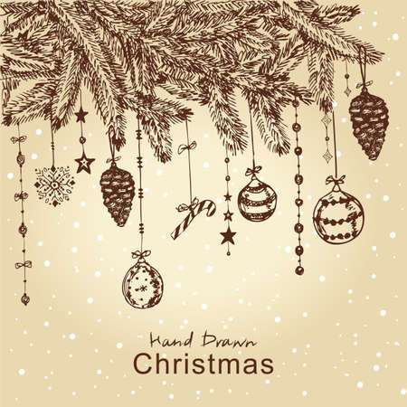 Hand drawn Christmas fur tree with balls, toys and fir-cone, for xmas design. All elements are in separate layers and grouped, easy to edit. Stock Vector - 11815310