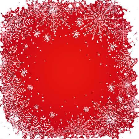 Hand drawn grunge snowflakes background, for your design. Vector