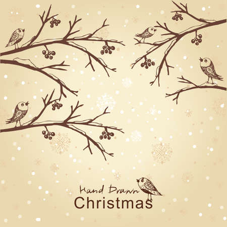 Hand drawn winter retro card with birds on branches, for xmas design. All elements are in separate layers and grouped, easy to edit. Vector