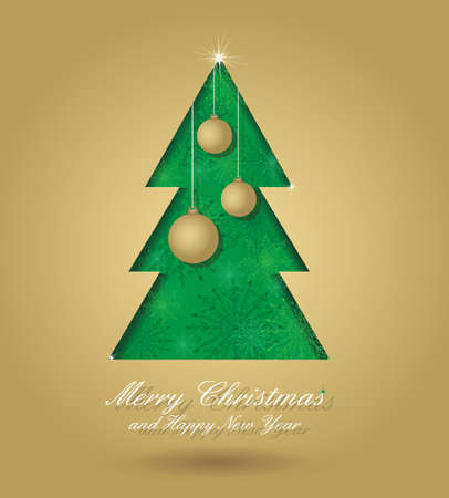 Christmas card with green christmas tree and gold balls formed from paper. Christmas postcard with seamless ornament, for your design.  Vector