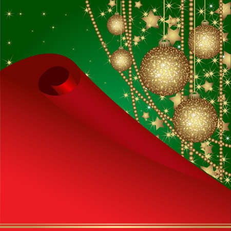 Christmas card with gold balls and tinsel. Christmas postcard for your design.  Vector