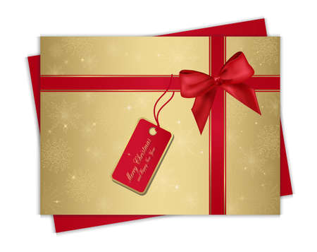 Christmas gold gift card with red ribbon and bow, for your information and design. Eps 10. Vector