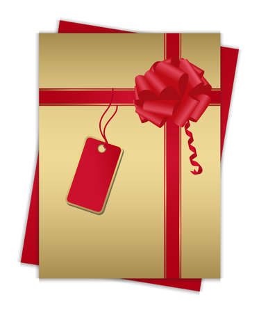 Gold gift card with red ribbon, for your information and design. Eps 10. Vector