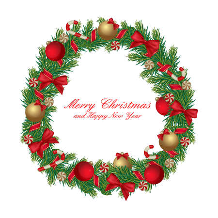 Christmas wreath decorated with ribbon, balls and candies isolated on white. Vector eps 10.  Vector