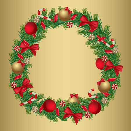 Christmas wreath decorated with ribbon, balls and candies. Christmas postcard for your design. Vector eps 10. All elements are in separate layers and grouped, easy to edit. Vector