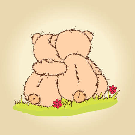 Hand drawn illustration of loving couple Teddy bears. Vector