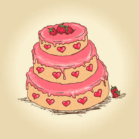Hand drawn tasty valentine or birthday cake with strawberries and cream. Vector