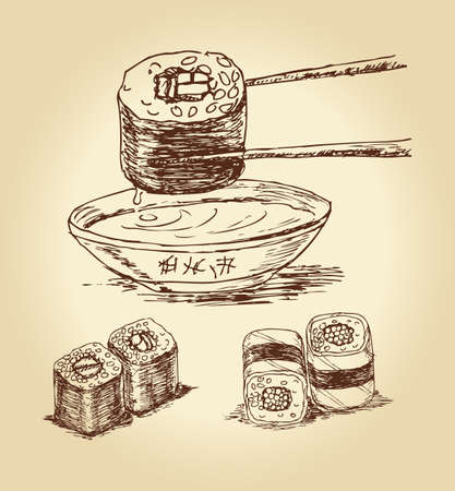 gourmet meal: Set of hand drawn sushi isolated over white bachkground, vector illustration.