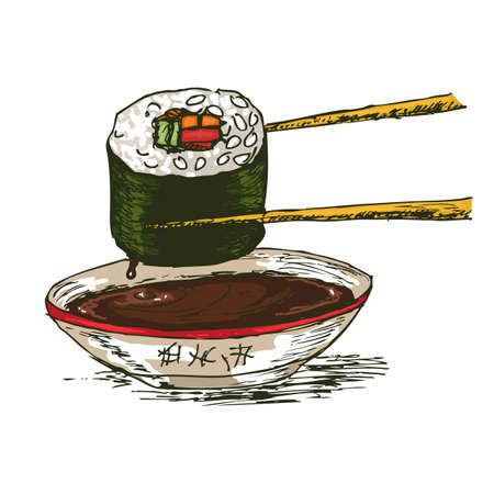 soy sauce: Sushi with chopsticks and soy sauce isolated over white bachkground, vector illustration.