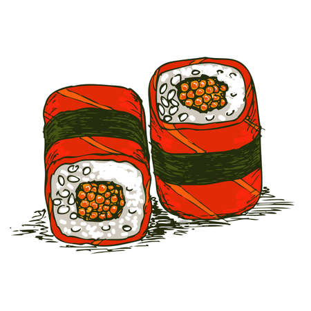 gourmet meal: Tasty rolls with caviar and salmon isolated over white bachkground, vector illustration.