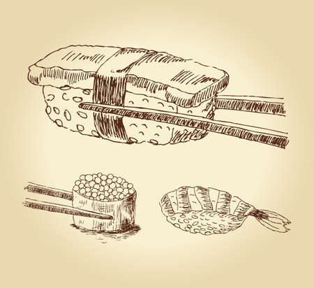 Set of hand drawn sushi isolated over white bachkground, illustration. Vector