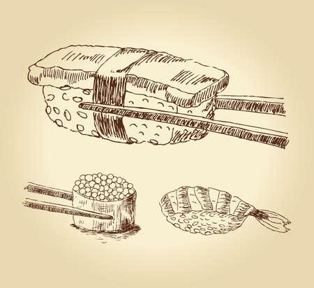 soy sauce: Set of hand drawn sushi isolated over white bachkground, illustration.