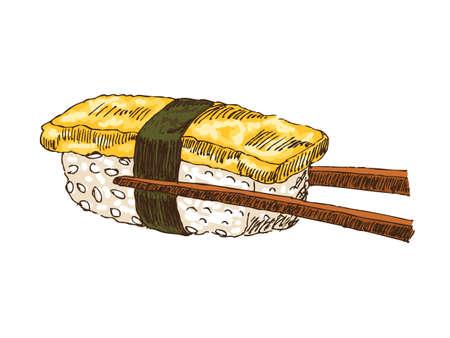 sushi: Sushi met tofu geà ¯ soleerde over witte bachkground, illustratie. Stock Illustratie