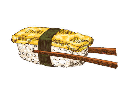 soy sauce: Sushi with tofu isolated over white bachkground, illustration. Illustration