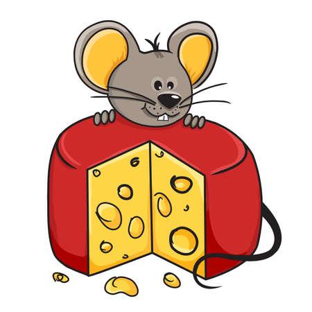 mus: Tecknad mus håller en kil av ost Illustration