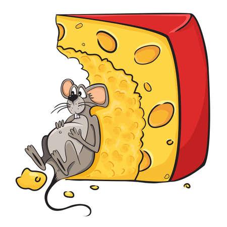 rats: Fumetto illustrazione divertente di mouse-guzzler si trova accanto al formaggio