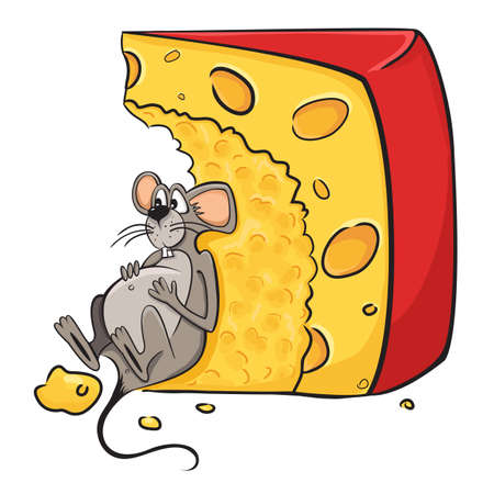 white cheese: Funny cartoon illustration of mouse-guzzler lies next to the cheese