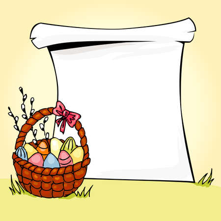 Illustration of basket full of Easter eggs  Vector