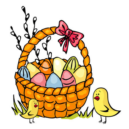 Illustration of basket full of Easter eggs isolated on white  Vector