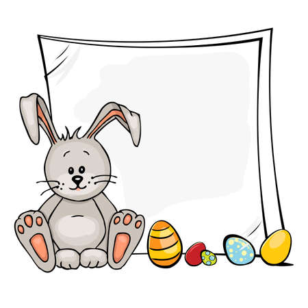 cartoon rabbit: Happy Easter illustration of baby rabbit and easter eggs