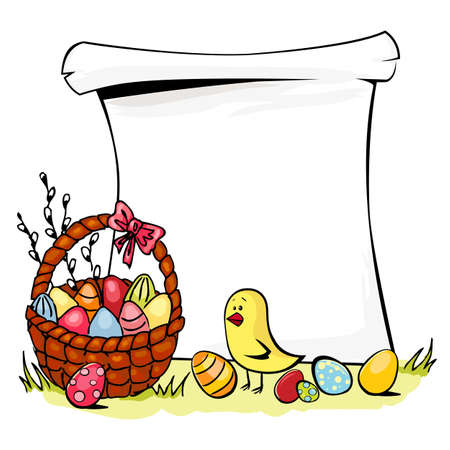 Colorful illustration of basket full of Easter eggs and chicken isolated on white  Vector
