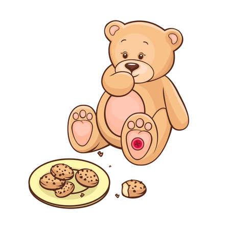 vintage teddy bears: Disegnata a mano carino Teddy Bear mangiando biscotti Vettoriali