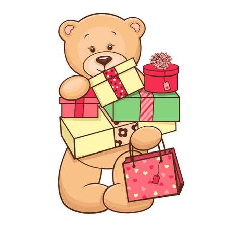 vintage teddy bears: Hand drawn cute Teddy Bear with presents  Vector illustration