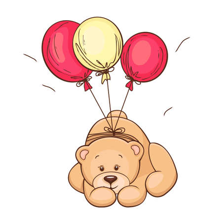 vintage teddy bears: Disegnata a mano carino Teddy Bear e Vector illustration palloncini Vettoriali