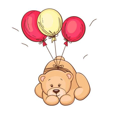 Hand gezeichnet niedlichen Teddybär und Luftballons Vektor-Illustration