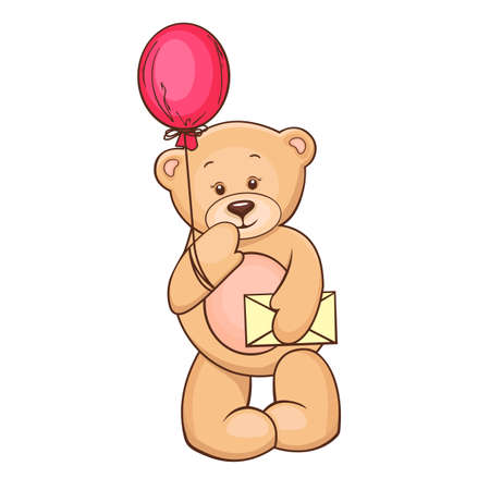 stuffed animals: Hand drawn illustration of cartoon Teddy Bear with balloon and message  Stock Photo