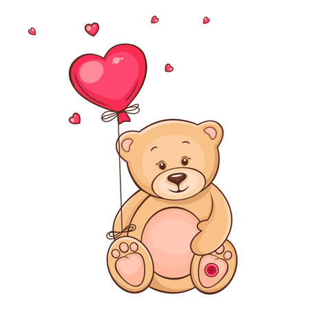 teddy bear love: Hand drawn vintage card with cute Teddy bear with red heart balloon  Stock Photo
