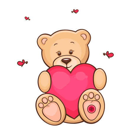 Hand drawn illustration of cute teddy bear with red heart  Vector