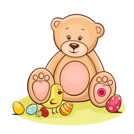 Illustration of cute Teddy bear and Easter chicken with eggs  illustration