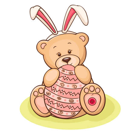 Illustration of cute teddy bear with Easter egg  Stock Illustration - 12957892