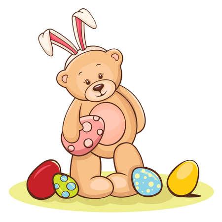 Ilustración de osito de peluche con los huevos de Pascua
